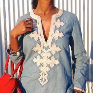 J. Crew Petite embroidered tunic in chambray